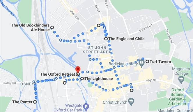 Map showing Pubs in Oxford